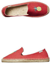 New Soludos Women's Smoking Slipper Embroidery Espadrille Flat Logo Shoes Red