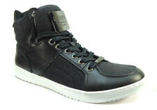 Guess Trippy Mens High Top Nubuck Leather Fashion Sneakers - Black Multi