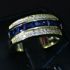 Size 8-12 Classic Jewelry Men's AAA Sapphire 10KT Yellow Gold Filled Band Ring