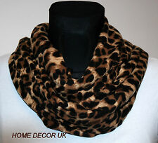 Large Soft Animal Leopard Print Circle Infinity  Loop Cowl Shawl Scarf UK-Seller