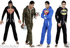 NEW UNISEX MENS AND WOMENS LADIES SUPERMAN ONESIE JUMPSUIT ALL IN 1 S-XXL