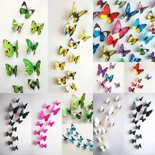 Newest 12pcs 3D Butterfly Art Decal decoration Home Decor Wall Stickers DIY Hot
