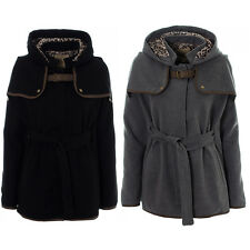Womens Black Grey Hooded Cape Ladies Poncho Coat Jacket 8 10 12 14 16