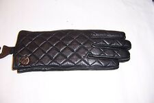 NEW MICHAEL KORS MK BLACK LEATHER GLOVES MSRP $88 535264 AUTHENTIC