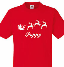 PERSONALISED POPPY CHRISTMAS T SHIRT KIDS OR ADULTS SANTA SLEIGH