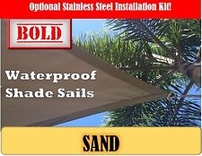 Waterproof 3x3 Metre Sand Square Shade Sail Polyester UV Treated Sun Awning