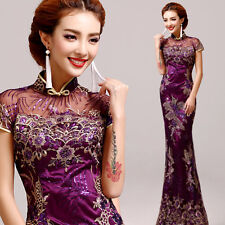 Chinese Cheongsam Evening Prom Mermaid Dress Vintage Ball Gown Embroidery A003
