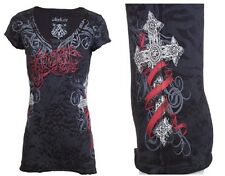 Archaic AFFLICTION Womens T-Shirt BLACK SHEEP Cross Tattoo Biker Sinful S-XL $40