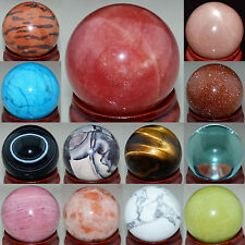 Wholesale Lots Mix Natural Gemstone Sphere Crystal Ball Healing 30MM