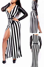 Sexy Jail Bait Striped Patchwork Maxi Night Club Cocktail Long Dress Clubwear