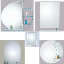 WALL BATHROOM MIRROR MIRRORS WITH WITHOUT SHELF SHELVES Round Rectangular Modern