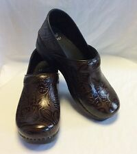 Dansko Professional Stapled Clogs/Shoes n Brown Tooled Leather; Sizes: 36-41M
