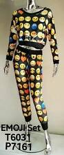 New Juniors Cleo All Over Emoji Sublimation Crop Top & Tapered Joggers Set