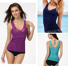 NWT Lady Sexy Flower Lace Strap Fitted Tank Top Shirt Tube Top S #TVS