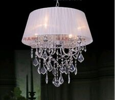 New Glass Crystal 48cm 4*40w Lamps Chandelier Fabric Shade Black/White Xmas