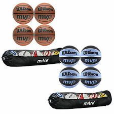 NEW Wilson MVP Basketballs x 4 with mitre ball tube, Tan, Sky, 5,6,7, cheap