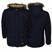 Men's Threadbare Long Parka Jacket Waterproof Padded Winter Coat Fur Hood