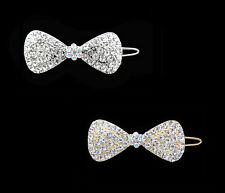 CRYSTAL BOW RIBBON BARRETTE HAIR CLIP JEWELRY CLEAR BABY GIRLS SILVER GOLD TONE