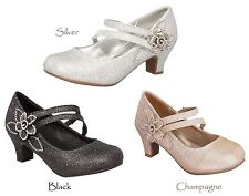 New Girls Black Champagne Gold Silver Dress Shoes Heels Youth Toddler Kids Pump