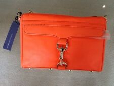 NWT REBECCA MINKOFF MINI MAC CLUTCH HANDBAG NEON ORANGE LEATHER CROSSBODY BAG