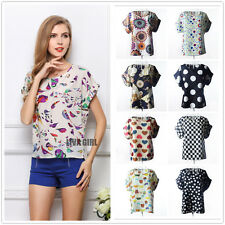 Fashion Womens Summer Casual Chiffon Top Batwing Short Sleeve Loose Shirt Blouse