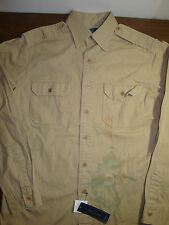 NWT $98 Polo Ralph Lauren Chino LS Shirt Mens Small Indian Native Fish FREE NEW