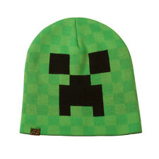 Official Licensed Minecraft Creeper Face Green Beanie Cap Hat Sizes S/M - L/XL