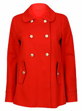 Brand New Ladies Duffle Style Red Military Collared Jacket Coat Size 8-18