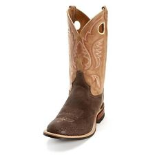 New Mens Justin BR361 Chocolate Bisonte Tan Cowhide Leather Western Cowboy Boots