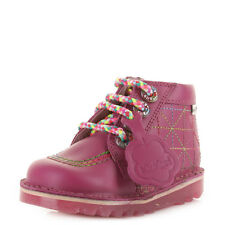 KICKERS KICK ZIPPY INFANT GIRLS KIDS LEATHER DARK PINK CASUAL SHOES BOOTS SIZE