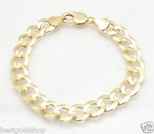 11mm Mens Solid Curb Cuban Link Chain Bracelet Real 10K Yellow Gold 23.90gr