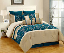 13 Piece Marmaro Teal and Taupe Bed in a Bag Set