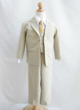 Boy Infant Toddler Teen Khaki/Taupe/IWhite with color long tie formal suit party