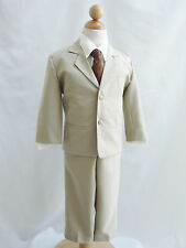 Boy Khaki/ivory black brown white gold grey vest long/bow tie formal party suit