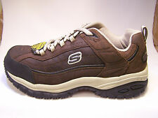 76760 Brown Skechers Non Slip Sole  Mens Work  Leather Shoes Steel Toe BRTP