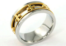 Silver & Gold Tone Gothic Cross Stainless Steel Spin Ring MR146