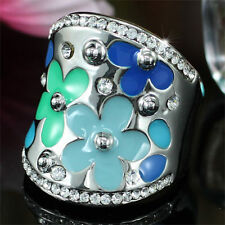 Blue Flower Ring use Swarovski Crystal SR145