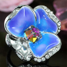 Blue Flower Ring use Swarovski Crystal SR157
