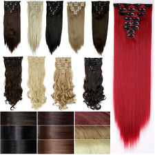 Real Thick Clip In Hair Extensions Long Straight Full Head Hair Extentions lts