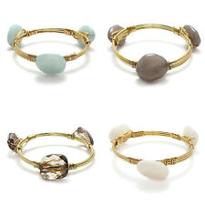 Gold Plated 7 Inch Stone Bangle Cuff Bracelet (Choose Color)
