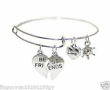 2015New Fashion Style Letter Best Friends Antique Silver Bracelets Free Shipping