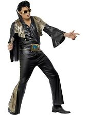 Adult Men's Rock Black and Gold Elvis Presley Fancy Dress Costume
