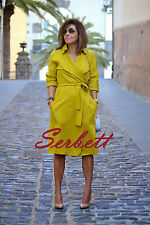 NEW ZARA YELLOW OLIVE GREEN LYOCELL LOOSE-FIT TRENCH COAT SIZE S REF 0605/202