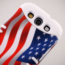USA Flag on White 2 in 1 Rocker Hybrid Case Cover For Samsung Galaxy S III S3