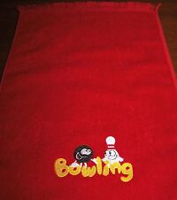 11x18 fringed bowling Towel Embroidered with a Ball & Pin on the word Bowling