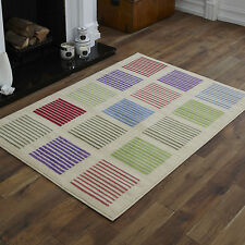 NEW CREAM RED GREEN BLUE STRIPES PATTERN SMALL MEDIUM LARGE CHEAP SOFT RUGS
