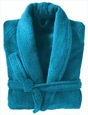 Aqua 100% Cotton Terry Towelling Shawl Collar Bathrobe Dressing Gown Bath Robe