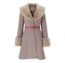 GOK WAN VINTAGE TWEED FAUX FUR COLLAR&CUFF WOOL COAT with RED CONTRAST BELT