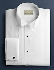 "NWT. All Sizes. Men's Wing Collar 1/4"" Pleats, 100% Cotton Tuxedo Shirt."