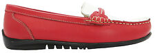 Amblers Pointer Women's Red And White Slip On Leather Loafer Moccasins New